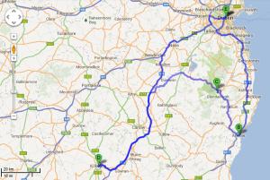 Map Ireland roadtrip